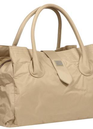 Дорожная большая спортивная сумка текстильная бежевая эпол