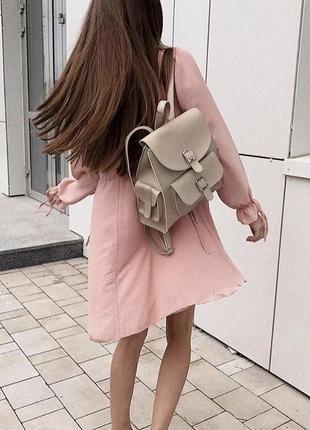 Бежевый женский вместительный рюкзак кожзам