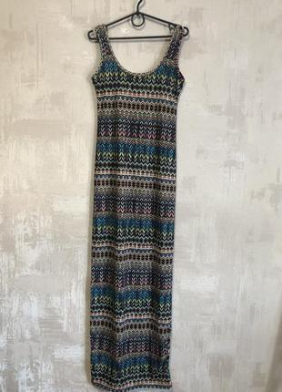 Платье сарафан в пол макси с орнаментом трикотажное
