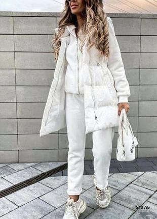 Женский костюм тройка (жилет, худи, штаны)