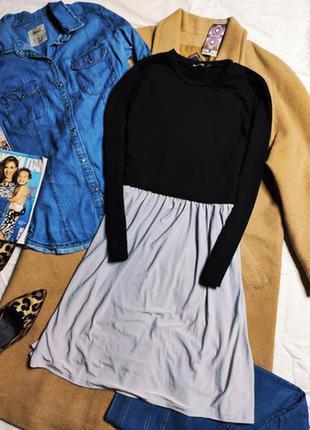 Boohoo платье чёрная водолазка серая юбка новое с длинным рукавом