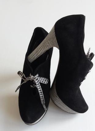Натуральные замшевые ботильоны -туфли