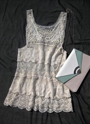 Красивая ажурная котоновая длинная молочная блуза soul river швеция
