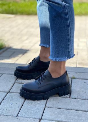 Женские кожаные чёрные броги туфли