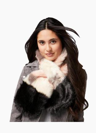 Брендовый меховой плюшевый теплый шарф в стиле пэчворк dune london этикетка