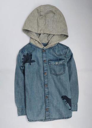 Джинсовая рубашка с капюшоном