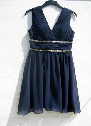 Красивое элегантное тёмно синее шифоновое платье sisters point