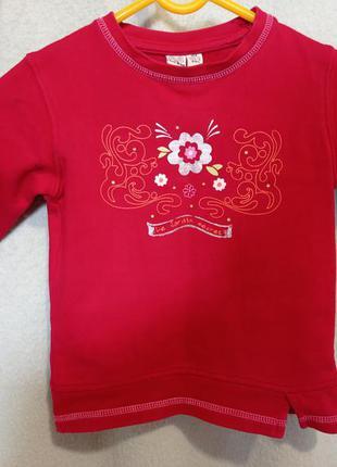 Тёплая красная хлопковая 💯 хлопок с начесом немецкая кофта 2,5-3