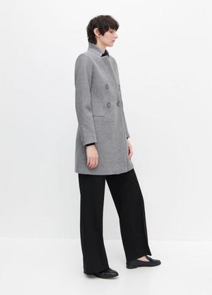 Пальто двубортное с шерстью светло серое миди