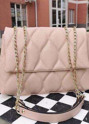 Розовая женская сумка кожзам кросс боди стёганая пудра