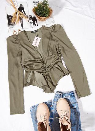 Оливковая блузка корсетная, модная блузка женская, блузка с корсетом, блуза