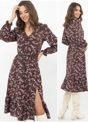 Стильное платье-миди с кокетливым разрезом🦋
