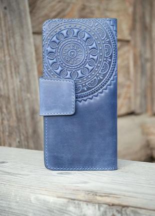 Кошелек кожаный длинный ручной работы темно-синий с орнаментом