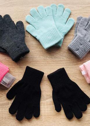 Перчатки детские цветные  от 2 до 12 лет от h&m