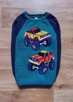 Теплый коттоновый свитер в машинках