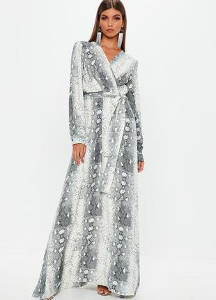 Длинное платье рубашка в змеиный принт ( без пояса )
