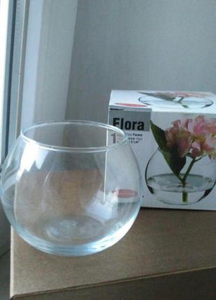 Ваза стеклянная маленькая шар круглая flora новая
