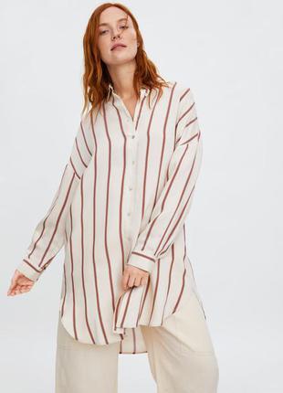 Zara платье - рубашка в принт полоска   s