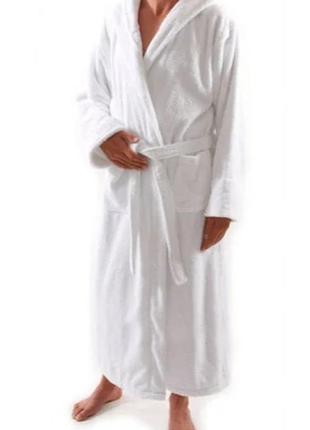 Банный халат / белый / длинный махровый с капюшоном / хлопок 💯 / s / elizabeth emanuel