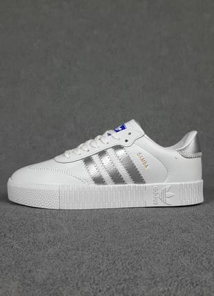 Женские белые с серебристым кроссовки adidas samba кожа демисезон