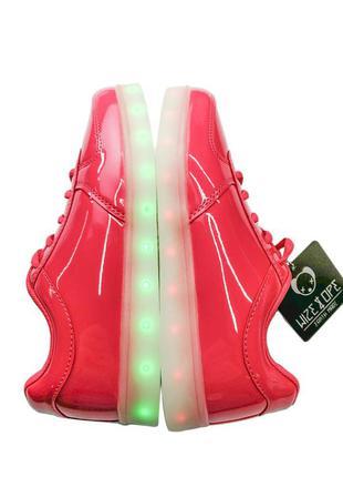 Wize&ope кроссовки сникерс красно малинового цвета с led подсветкой. размер eu38,