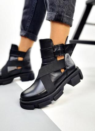 Ботинки деми, кожаные ботинки,  черные ботинки, 26497