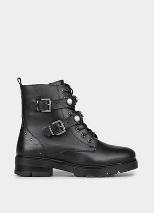 Жіночі шкіряні черевики в чорному кольорі braska / оригинальные женские ботинки браска