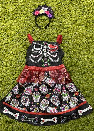 Костюм скелет катрина на хеллоуин на5-6лет