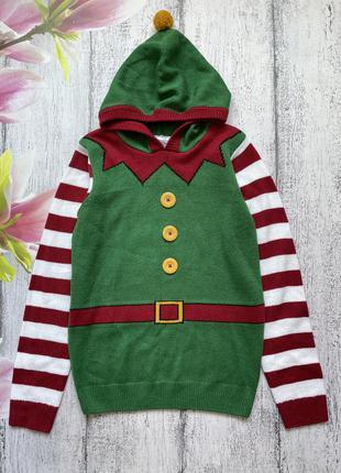 Крутой новогодний свитер кофта эльф с капюшоном lily&dan 11-12лет
