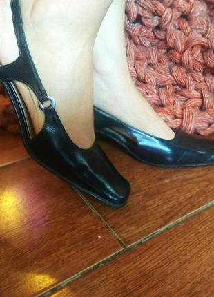 Туфли с открытой пятой натуральная кожа