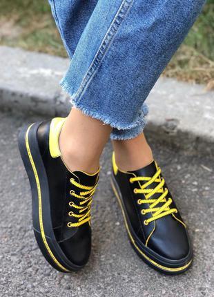 Кеды женские кожаные черные с желтыми вставками 6900