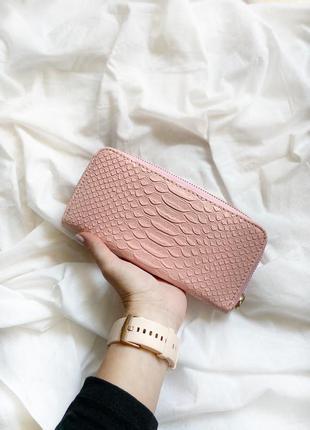Универсальный розовый однотонный кошелёк клатч портмоне под кожу крокодила