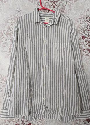 Новая мужская рубашка лён/хлопок, h&m, xl