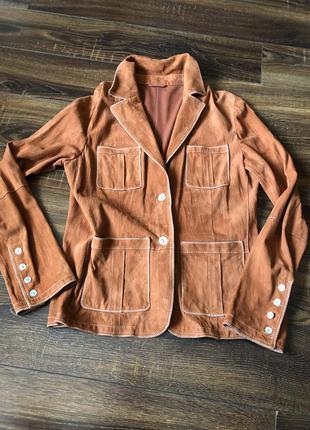 Брендовый  замшевый пиджак