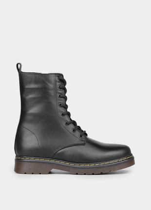 Жіночі шкіряні черевики в чорному кольорі braska / оригинальные женские кожаные ботинки браска