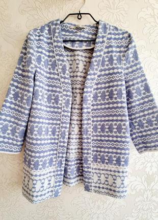 Голубой / голубо-белый удлиненный свободный пиджак / жакет / накидка с рукавом 3/4 george