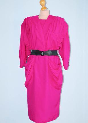 Платье винтажное с руковом приталенное миди винтаж