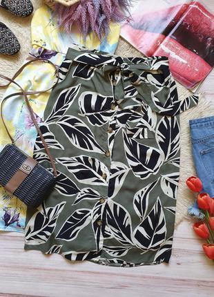Красивая натуральная миди юбка с поясом и пуговицами тропики листья