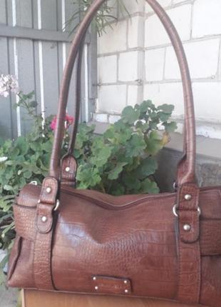 Брендовая сумка багет под кожу крокодила
