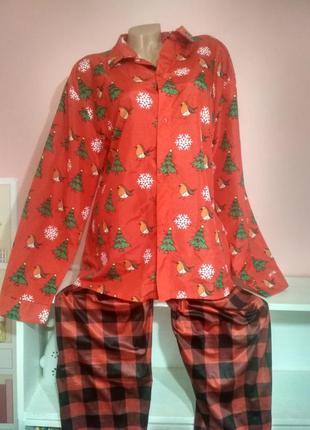 Сборный комплект новогодняя пижама полуатласная