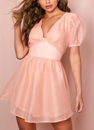 Платье с объёмными рукавами фонарик персиковое пудровое свободного кроя
