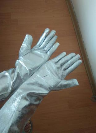 Нарядные серебристые длинные перчатки для праздников, вечеринок, хелоуина