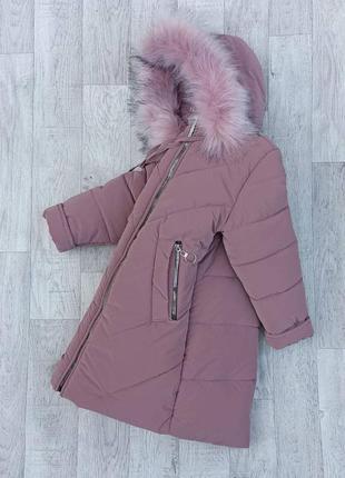 Р. 116-152 стильная, зимняя удлиненная куртка - пальто