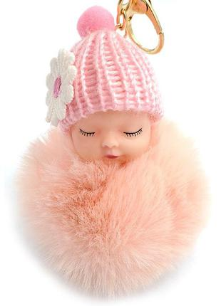 Брелок из меха спящий малыш abaccio a100