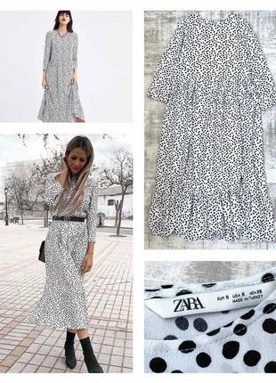 Свободное ярусное платье zara оверсайз свободного кроя из натуральной ткани вискоза