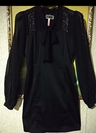 Очень красивое стилтное платье вставки сетка с бисером