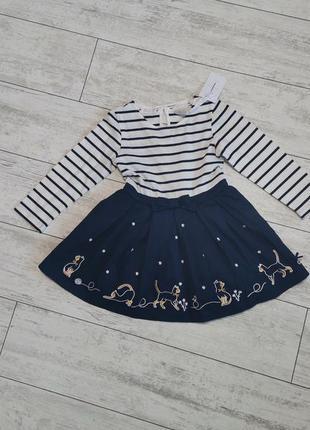 Платье синее в полоску, с котиками на 12-18 месяцев