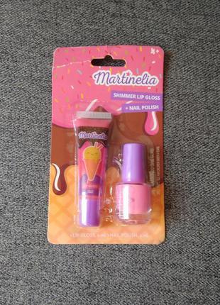 Набор детской косметики martinelia. блеск для губ. лак для ногтей. детская косметика