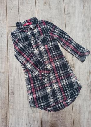 Платье рубашка в клетку байковая