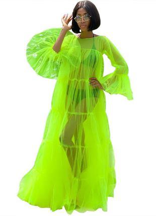 Яркая фатиновая накидка туника платье кислотного неонового цвета